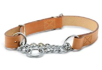 Leather Half Check Dog Collars