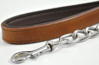 Vintage Chain Dog Leads with Leather Handles