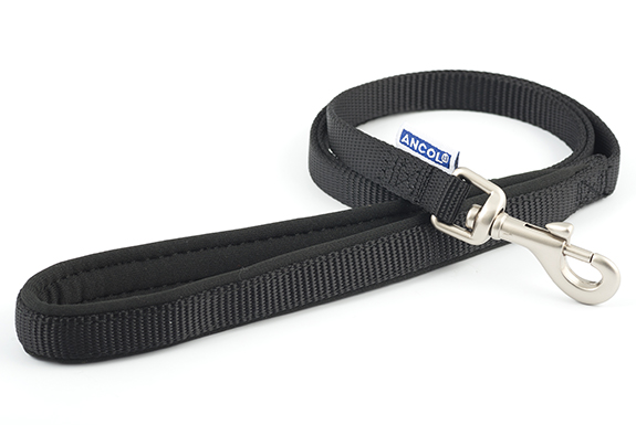 Black Nylon Leads with Padded Handles