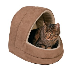 Hooded Suede Cat Bed